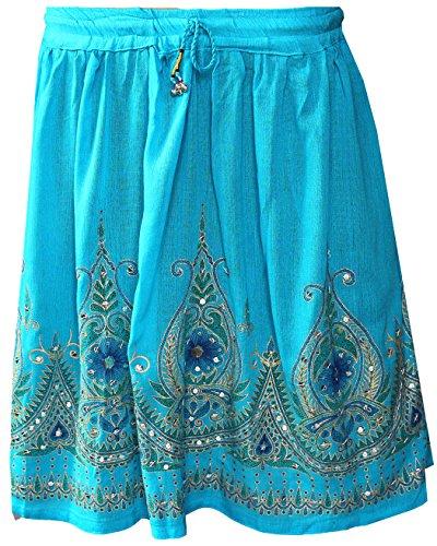 Frauen Röcke knielangen Pailletten Indien Indische Kleidung (Blau)