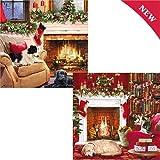 Weihnachtskarten (oh2103)–Friends by the Fire–Pack von 10Karten–2Designs–Verkauft in Hilfe von Help For Heroes–Folie Finish