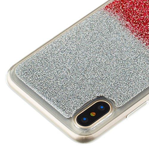 Custodia iPhone X Cover iPhone X Alfort Case Bicolor gradiente Morbida Silicone TPU Molle Impermeabile Prevenire Graffi Con polvere flash ( Argento - Rosso ) Argento - Rosa rossa