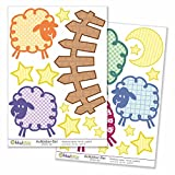 Kiwistar Schafwiese einschlafen Gesamtgröße, Wandsticker Set Bogen Aufkleber farbig DIN A4
