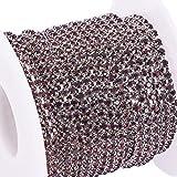 BENECREAT 10 Yardas de Diamantes de Imitacion de Cristal, Cierre de Cadena, Claro, Recorte, Garra, Cadena, Costura, artesania, 2 mm