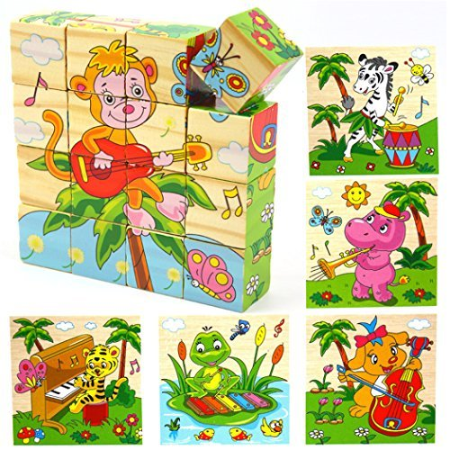 Holzsammlung® 16 Pcs Wooden Cube Block Jigsaw Puzzles - Musician Pattern Blocks Puzzle for Child 1 Year and Up -- Perfect Christmas Gift for Your Kids - Pattern-blocks