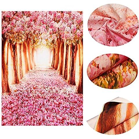 MOHOO Vendita di Natale 5x7ft sfondo foto/Seta fotografia sfondo Bella rosa di stoffa Cherry Avenue Fotografia per Famiglia, vacanze, matrimoni, bambini