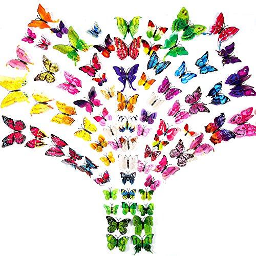 Favoloso ivencase® 96 Pezzi Farfalle 3d Parete, DIY Adesivi da Parete  SP19