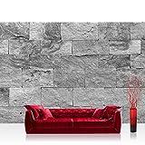 Vlies Fototapete 350x245 cm PREMIUM PLUS Wand Foto Tapete Wand Bild Vliestapete - Steinwand Tapete Steinoptik Sandstein Steine Wand 3D Steintapete anthrazit - no. 4303