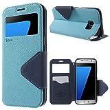   Handyschutz in Perfektion   Ultra Slim Premium Flip Cover Tasche Schutz Hülle mit Silikon Innen Schale Original Roar Fancy Case Für Samsung Galaxy S7 Edge Baby Blau