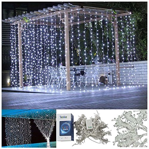 Blusow Curtain Lights 304led 9.8*9.8ft Warm White Christmas ...