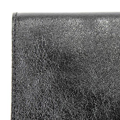 Modamoda de- ital. Borsa in pelle Clutch Underarm Bag Borsa da sera in pelle metallizzata M106-151 M151 Schwarz Metallic