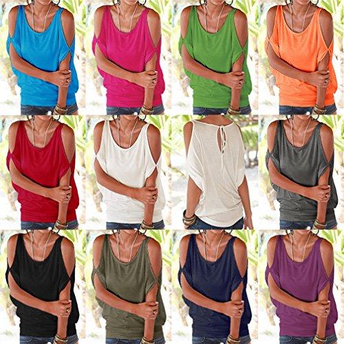 Bigood Top Femme Chic Coton Sexy T-shirt Epaule Nue Chemise Chemisier Col Rond Casual Eté Violet