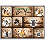 Nostalgic-Art 83058 Coffee & Chocolate - Coffee House, Magnet-Set (9teilig)