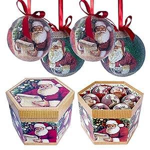 The Christmas Workshop - Set di 14 palline per albero di Natale, 75 mm, da decorare con découpage, motivo: Babbo Natale