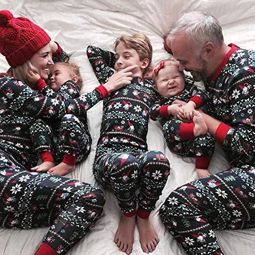 (DIVAND Familien-Weihnachtspyjama-Set, Passende Männer Frauen Kinder Pjs Warme Oberteile Bottoms Klassische Rote Farben,XL(Mum))