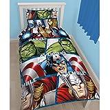 Marvel - Juego de funda para edredón y almohadón reversible de Vengadores para niño/chico (Doble/Multicolor)