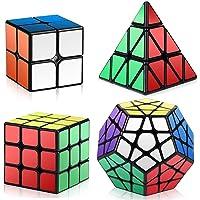 ROXENDA Ensemble Speed Cube, 2x2x2 3x3x3 Pyramid Megaminx Vitesse Cube de Magique; Facile à Tourner et à Lisser (Noir)