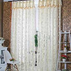 Rrimin Romantic Door Window Sheer Curtain,1*2.6 m, (Cream-colored)