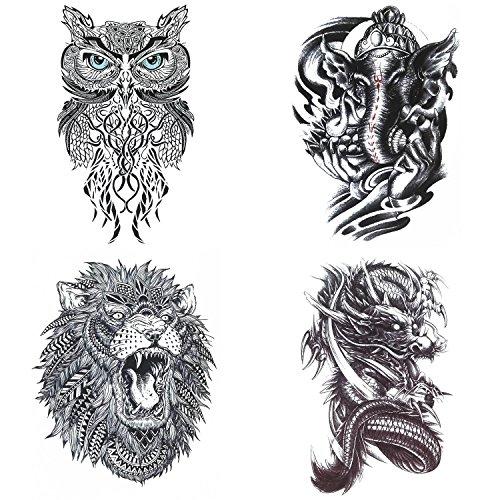 COKOHAPPY Grande Animal Temporales Tatuaje 4 Diferente hoja Lion Búho Elefante