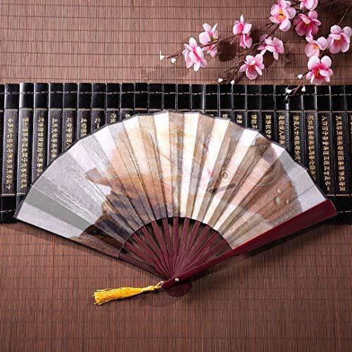 AGIRL Lustiger Faltfächer Süßes kleines rotes Kätzchen schläft auf Decke mit Bambusrahmen Quaste Anhänger und Stoffbeutel Lustiger japanischer Fächer Handfächer Dekor Kinder japanischer Fächer -