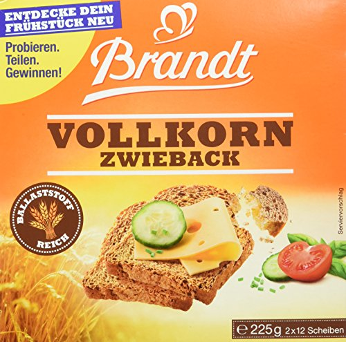 Brandt Vollkorn-Zwieback, 10er Pack (10 x 225 g Packung)
