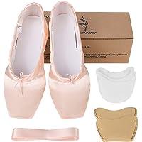 Bezioner Ballerine Rosa e Rosso Pantofole Balletto di Danza con Una Serie di Nastri e Puntale