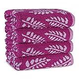 4 tlg Handtuchset 4x Handtücher 50x100 cm Jaquard Hochwertig & dekorative 100% Baumwolle, Farbe:MAGENTA