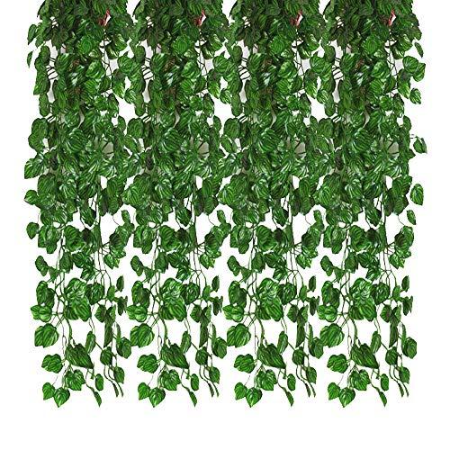 ränge künstliche Ivy Garland Leaf Reben Pflanzen Grün, hängende gefälschte Pflanzen, für Hochzeit Hintergrund Bogen Wand Dschungel Party Tisch Büro Dekor (Wassermelone Blatt) ()
