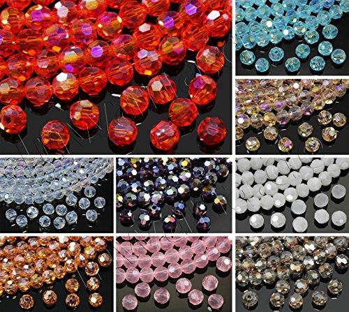 INWARIA Kristall Glasperlen 4mm facettiert rund Crystal AB Perlen Glasschliffperlen KP-4, 12-vintage rose alabaster, 4 mm, 50 Stuck -
