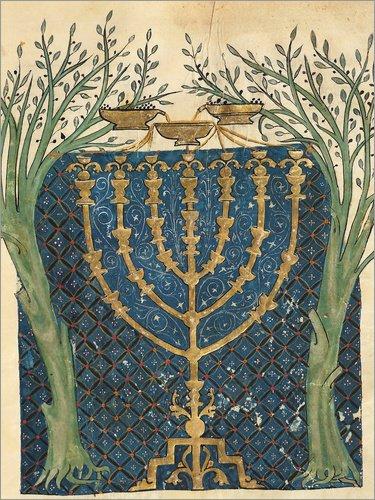 Posterlounge Alu Dibond 100 x 130 cm: Beleuchtung Einer Menora von Joseph Asarfati/Bridgeman Images