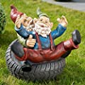 Royal Gardineer Zwerg für Garten: Gartenzwerg-Duo mit Reifen, handbemalt (Dekozwerge) von Royal Gardineer - Du und dein Garten