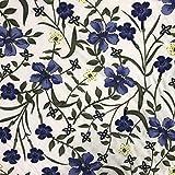 Weiß/Blau Blumen Premium Printed Viskose für Kleid,