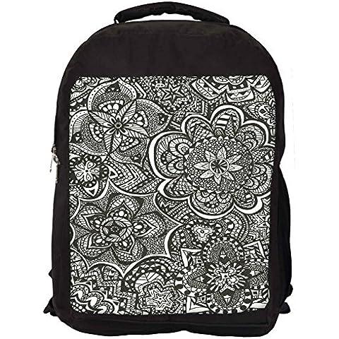 Snoogg bianco e nero, motivo astratto, a schiena, a Zaino scuola viaggio, collezione Occasionn...