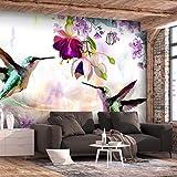 decomonkey | Fototapete Blumen Vögel rosa 300x210 cm XL | Tapete | Wandbild | Wandbild | Bild | Fototapeten | Tapeten | Wandtapete | Wanddeko | Wandtapete | Orchidee Lilie Natur