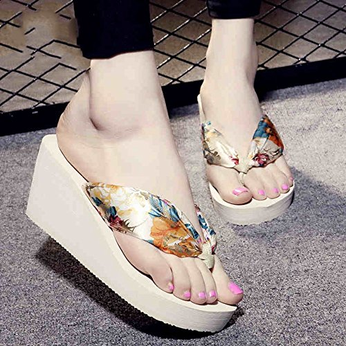 LIXIONG Portatile Flip flop di seta morbida per la pelle Femmina estiva scivolosa con pantofole Sandali impermeabili inferiori di fondo Sandali personalità di moda -Scarpe di moda ( Colore : 1004 , di 1001
