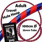 Pro Hula Hoop Reifen Erwachsene + Hooping DVD (Orange/Blau) Faltbarer Travel Hula Hoop für Training u. Tanz HoopDance - Größe 100cm, Gewicht 640g