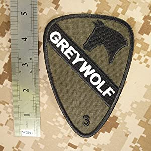 Olive Drab OD US Armée 3rd Brigade Combat Grey Wolf 1st Cavalry Division Green Hook-and-Loop Écusson Patch