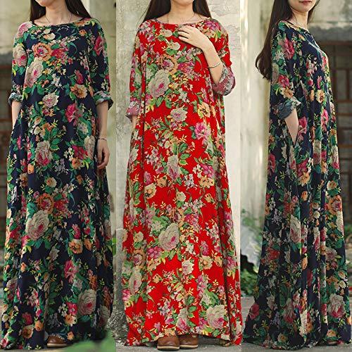 b0a9b47a22cc99 VONDA Damen Mittelalter Kleid Kaftan Langarm Kleidung Boho Kleider Lange  Größe Maxikleid