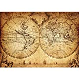 Vlies Fototapete 350x245 cm PREMIUM PLUS Wand Foto Tapete Wand Bild Vliestapete - VINTAGE WORLD MAP - Weltkarte Atlas Vintage Atlas alte Karte alter Altas - no. 076