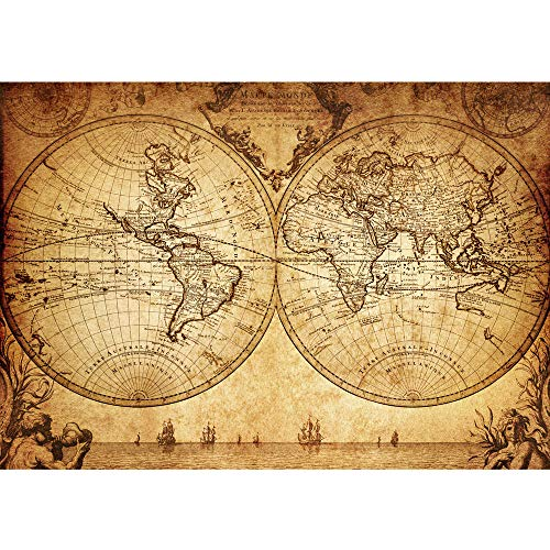 Vlies Fototapete 300x210 cm PREMIUM PLUS Wand Foto Tapete Wand Bild Vliestapete - VINTAGE WORLD MAP - Weltkarte Atlas Vintage Atlas alte Karte alter Altas - no. 076