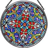 Decorativa pintada a mano Vidriera ventana Sun Catcher/Pop Art products en un (diseño de Quatrefoil
