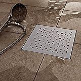 VILSTEIN VS-DB03-25K Duschrinne mit Siphon Boden-und Duschablauf, Quadratisch Kreise, Silber, 25 x 25 cm