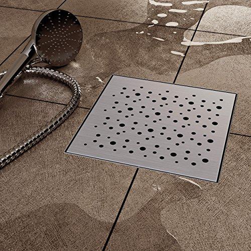 VILSTEIN VS-DB03-20K Duschrinne mit Siphon Boden-und Duschablauf, Quadratisch Kreise, Silber, 20 x 20 cm
