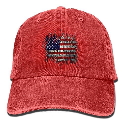 Unisex Adult US USA American Flag Washed Denim Retro Cowboy Style Baseball Cap Sun Cap Trucker Hat Adjustable Dad Hats 08503