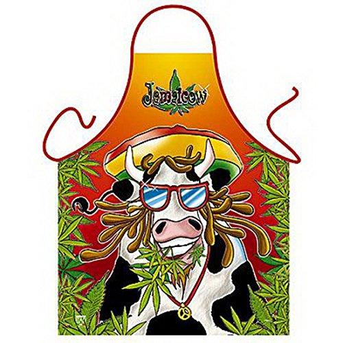 Lustige Schürze - Jamaicow - Lustige Jamaika Kuh Rasta Look - Karneval - als Geschenk zum Fasching im Set mit Urkunde (Jamaika-geschenk-set)