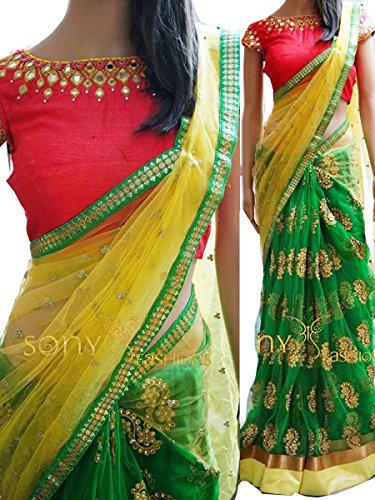 Sarees ( Green Color Naylon Mono Net Fabric Multiwork Saree, New Arrival Latest Best Choice and Design Beautiful Sarees and Salwar suits and Dress Material Collection For Women and Girl Party wear Fes