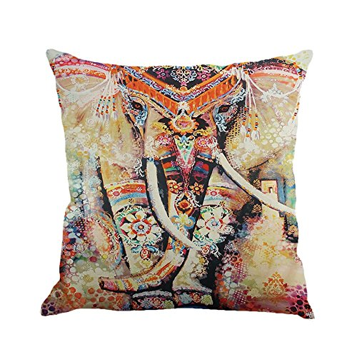 Moresave Mandala Elefanten Baum Wurf Kissen Abdeckungs Auto Sitz Kissenbezug Sofa Home Decorative, 45x45cm -