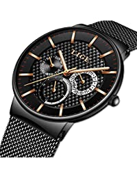 Watches for Men,LIGE Stainless Steel Waterproof Sports Analog Quartz Watch Gents Milanese Mesh Band Black Dial Fashion Casual Dress Wrist Watch Rose Gold Black