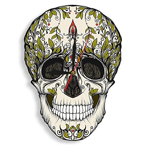xuyuandass Wanduhren Tag Der Toten Zuckerschädel Keleton Blumen Nicht Ticken Halloween Mexikanische Tradition Kunstwerk Wohnzimmer Schlafzimmer Kinderzimmer Wohnkultur Für Familie Küche Büro