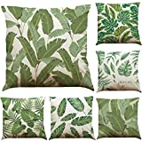 COFACE 6 Stück Grün Pflanze gedruckt Muster Kissenbezug 45X45cm Leinen-Baumwoll atmungsaktiv Kissenhülle Kopfkissenbezug (A)