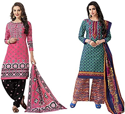 Hrinkar Pink And Green Cotton Prints With Solid Contrasts Salwar Suit Dupatta Or Churidar Suit For Women Latest Design And Style ( Material Unstitched ) Combo Pack Of 2 Dress - HKRCMB1549
