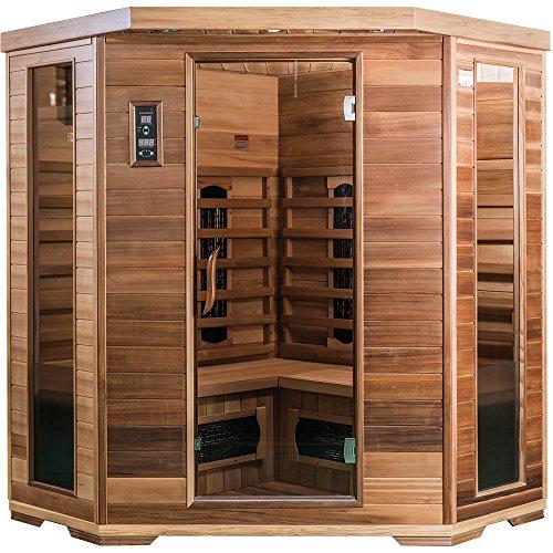 SaunaMed luxuriöse Fern-Infrarot-Sauna für 4-6 Personen, Zedernholz, ohne elektromagnetische Strahlung