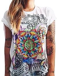 Moollyfox Verano de la Manga Corta de las Mujeres Camiseta Tapas Ocasionales Blusa Suelta